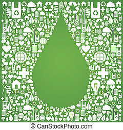 Water drop symbol over green icons set background. Vector file available.