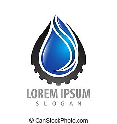 Water drop with gear logo concept design. Symbol graphic template element vector