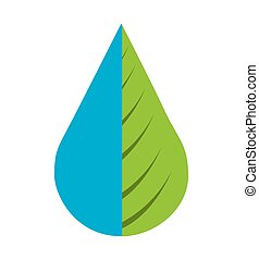 water drop with leaf isolated icon design