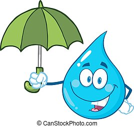 Water Drop With Umbrella - Smiling Water Drop Character With...