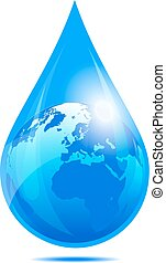 Water Drop World - European and African Globe in a Water...