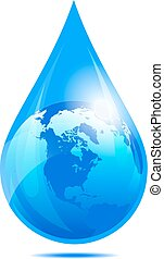 Water Drop World, Water Droplet - Water Drop World, America,...