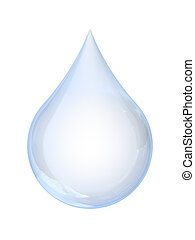 A drop of water isolated on white background with clipping path.