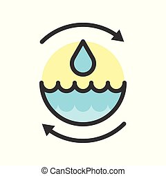 Water droplet and arrow, save or recycle water icon filled outline design