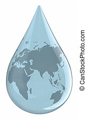 Water droplet with World Map. Clipping path included.