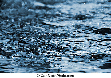 Water droplets floating on the water surface