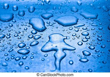 Water droplets on metal