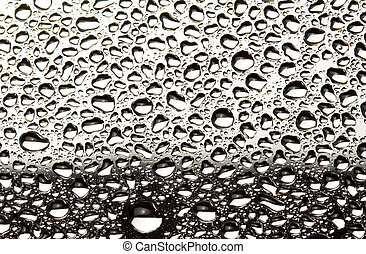 Water droplets on metal surface