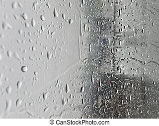 Water droplets on the glass with a background