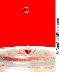 water, droplets, op, het vallen, rood