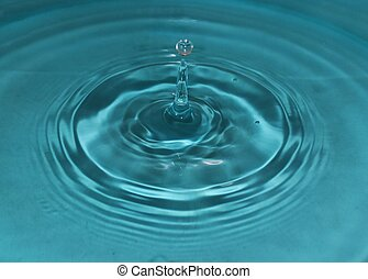 Water Droplets - Water droplet dropping into water