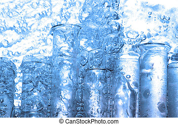 water drops and chemistry glass in laboratory