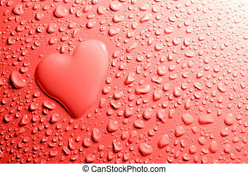 Water drops and heart shape