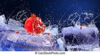 Water drops around red fruit on the ice