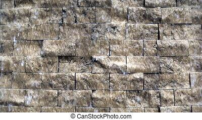 Water Drops Flowing Down on Brick Stones