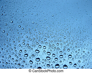 Water drops in blue