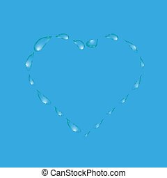 Water drops in the form of heart on a blue background