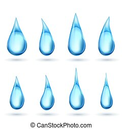 Water drops isolated on white background