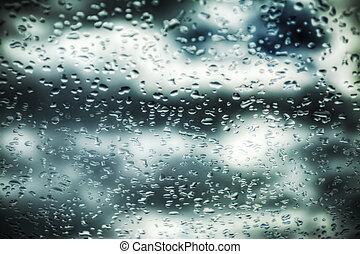 drops on a car windshield