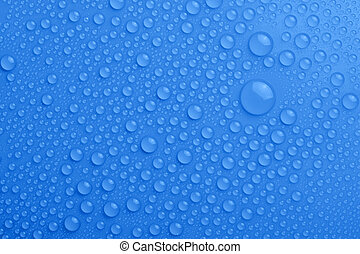 Water drops on blue background