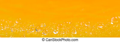 Water drops on bright orange texture background