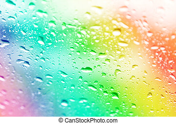 water drops on colorful blur background