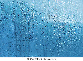Water drops on glass - Blue natural background with water ...