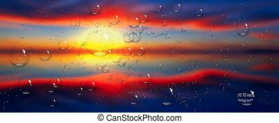 water drops on glass. Sea, sky. clouds . sunset. vector