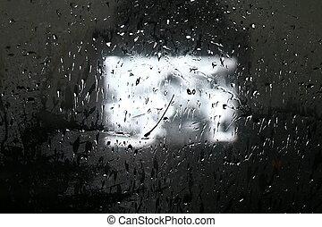 Water Drops on Glass Window in Rainy Season