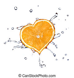 water drops on heart from orange isolated on white