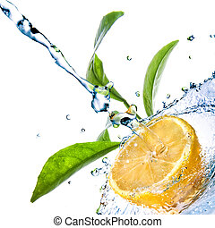 water drops on lemon with green leaves isolated on white
