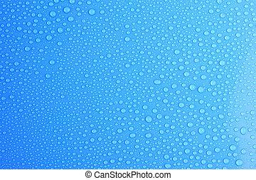 Water drops on light blue box