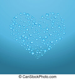 Water drops on red heart. Vector illustration