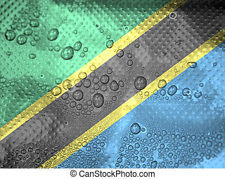 water drops on Tanzania flag background