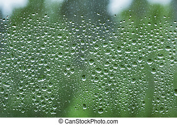 Water drops on the window after rain.