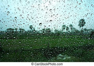 water drops on window after rain