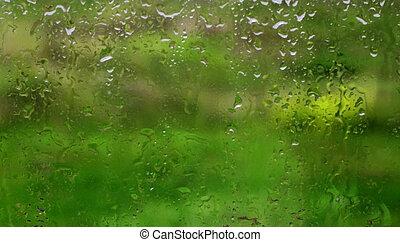 Water drops on window glass after rain