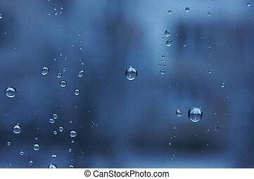 Water drops on window glass.