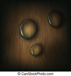 Water drops on wooden background, eps10