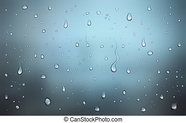 Realistic vector illustration of water drops on window