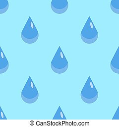 Water drops seamless pattern on blue background. Rain drop Flat design Vector