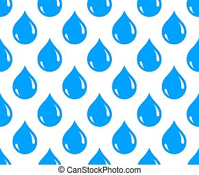 Water drops seamless vector wallpaper, raindrops endless pattern background, weather theme picture.
