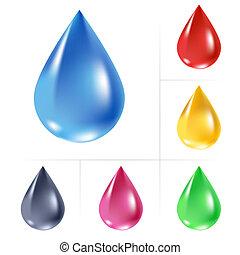 water, drops., set