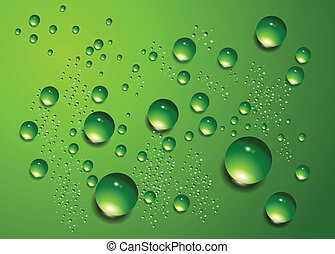 Water drops vector background. - Water drops on green...