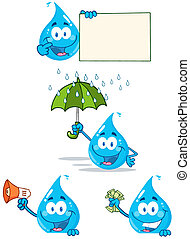 Water Drop Cartoon Mascot Characters. Collection