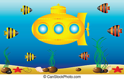 water, duikboot, gele, onder