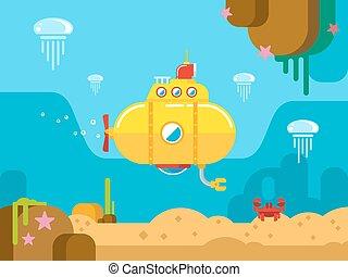 water, duikboot, onder, illustratie, plat