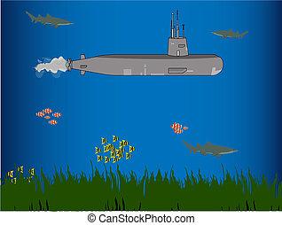 water, duikboot, onder