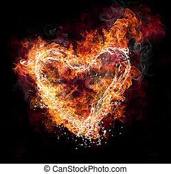 water, en, vuur, hart gedaante, op, zwarte achtergrond