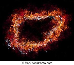 water, en, vuur, verbinding, in, frame, ontwerp, repesentatie, van, elements., vrijstaand, op, zwarte achtergrond